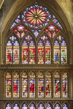 HMS3415235 France, Moselle, Metz,Saint Etienne of Metz gothic cathedral, stained glass windows of the southern transept by Valentin Bousch