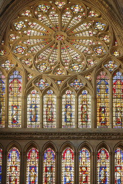 HMS3415241 France, Moselle, Metz,Saint Etienne of Metz gothic cathedral, the stained glass windows of the western facade by Hermann de Munster