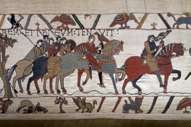 HMS3432182 France, Calvados, Bayeux, Tapestry Museum, Bayeux Tapestry, listed as World Heritage by UNESCO, Queen Mathilde Tapestry telling the story of England's invasion by William the Conqueror