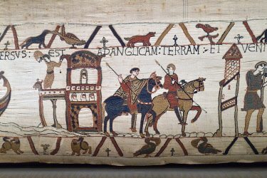 HMS3432193 France, Calvados, Bayeux, Tapestry Museum, Bayeux Tapestry, listed as World Heritage by UNESCO, Queen Mathilde Tapestry telling the story of England's invasion by William the Conqueror