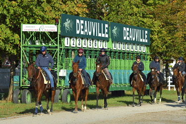 HMS3477924 France, Calvados, Pays d'Auge, Deauville, Racecourse of Deauville-La Touques, riders in front of the starting stalls