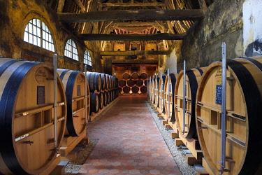 HMS3478139 France, Calvados, Pays d'Auge, Le Breuil en Auge, Chateau du Breuil producer of Calvados AOC Pays d'Auge, barrels in aging cellars