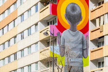 HMS3249380 France, Paris, 13th district, Street Art, the work Bambin in shorts of the artist �Julien Seth Malland
