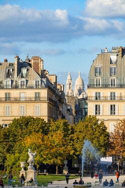 HMS3360193 France, Paris, Haussmann buildings rue de Rivoli and the Sacre Coeur