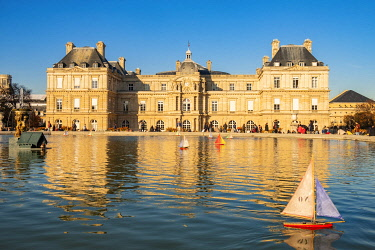 HMS3402944 France, Paris, Luxembourg Garden in autumn, the basin and the palace of the Senate
