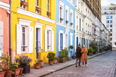 HMS3276436 France, Paris, Quinze-Vingts district, rue Cremieux is a pedestrian and paved street, lined with small pavilions with colorful facades