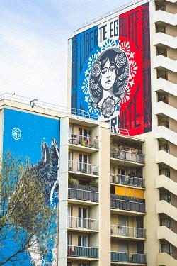 HMS3276481 France, Paris, Street Art of the 13th district, The Cat by the artist C215, Vincent Auriol boulevard and Liberté, Egalité, Fraternité by the artist Shepard Fairey in the background