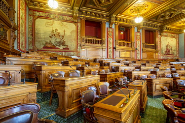 HMS3360139 France, Paris, the Paris City Hall, the Council Chamber of Paris