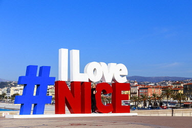 HMS3265495 France, Alpes Maritimes, Nice, the #ILoveNice, a work insgtalled on the esplanade of Rauba Capeù, at the foot of the colline du Château