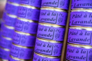 HMS3319171 France, Alpes de Haute Provence, Verdon Regional Nature Park, Valensole lavender festival, lavender pâté box stall