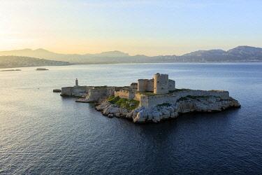 HMS3381967 France, Bouches du Rhone, Calanques National Park, Marseille, 7th arrondissement, Frioul Islands archipelago, Ile d'If, Chateau d'If, listed as a Historic Monument (aerial view)