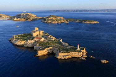 HMS3381969 France, Bouches du Rhone, Calanques National Park, Marseille, 7th arrondissement, Frioul Islands archipelago, Ile d'If, Chateau d'If, listed as a Historic Monument (aerial view)