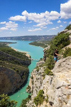 HMS3402627 France, Alpes de Haute Provence, Verdon Regional Natural Park, Grand Canyon of Verdon, the lake of Sainte Croix