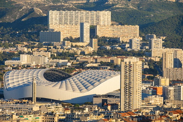 HMS3363037 France, Bouches du Rhone, Marseille, the Velodrome stadium, and the district of La Panouse, a large complex of 2,200 homes called La Rouviere
