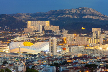 HMS3402931 France, Bouches du Rhone, Marseille, the Velodrome stadium, and the district of La Panouse, a large complex of 2,200 homes called La Rouviere