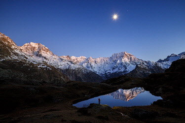 HMS3414141 France, Hautes Alpes, national park of Ecrins, valley of Valgaudemar,La Chapelle en Valgaudémar, reflection of Sirac (3441m) on the lake of Lauzon (2008m), on the left the peak Jocelme (3458m)