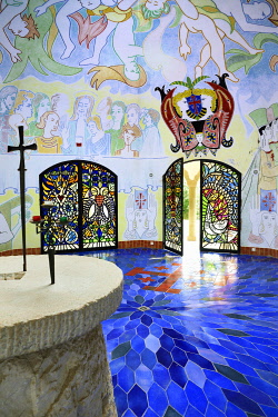 HMS3361477 France, Var, Frejus, Notre Dame of Jerusalem chapel designed by Jean Cocteau and dedicated to the Knights of the Holy Sepulchre
