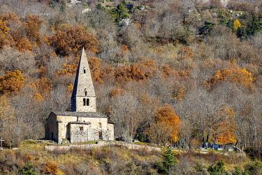 HMS3417002 France, Hautes Alpes, the Dévoluy massif, Saint Disdier en Dévoluy, the chapel of Gicons Romanesque style of the eleventh and twelfth centuries, better known as the La Mere Église