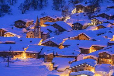 HMS3259958 France, Savoie, Vanoise National Park, Bonneval sur Arc, labelled Les Plus Beaux Villages de France (The Most Beautiful Villages of France), the highest village of Haute Maurienne (1850 m)