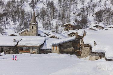 HMS3259976 France, Savoie, Vanoise National Park, Bonneval sur Arc, labelled Les Plus Beaux Villages de France (The Most Beautiful Villages of France), the highest village of Haute Maurienne (1850 m)