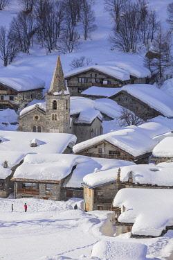 HMS3260008 France, Savoie, Vanoise National Park, Bonneval sur Arc, labelled Les Plus Beaux Villages de France (The Most Beautiful Villages of France), the highest village of Haute Maurienne (1850 m)