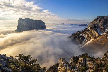 HMS3305203 France, Isere, Vercors Regional Natural Park, National Highlands Vercors Nature Reserve, Mont Aiguille (2086m) emerges from a sea of clouds