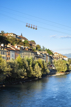 HMS3406887 France, Isere, Grenoble, banks of Isere river, Saint Laurent district dominated by the Dauphinois Museum