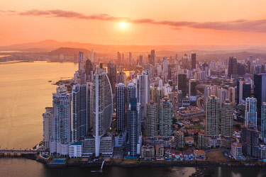 CLKAC116244 Aerial view of Panama City skyscrapers at sunset. Panama City, Panama, Central America