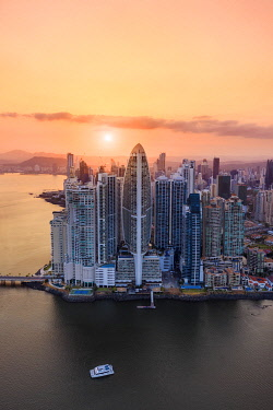 CLKAC116249 Aerial view of Panama City skyscrapers at sunset. Panama City, Panama, Central America