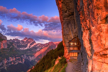CLKFB114706 Red light of sunrise at Berggasthaus Aescher, Canton of Appenzell, Alpstein, Switzerland, Europe