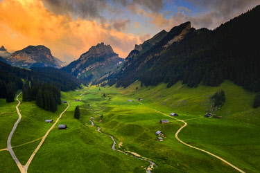 CLKFB114754 Colourful sunrise in the valley, Canton of Appenzell, Alpstein, Switzerland, Europe