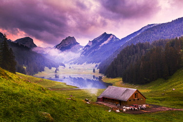 CLKFB114759 Farm with Samtisersee during pink sunrise,Canton of Appenzell, Alpstein, Switzerland, Europe