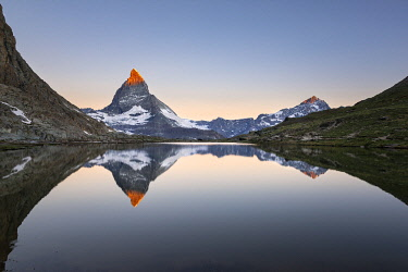 CLKGP116417 Matterhorn reflected in Riffelsee Lake at dawn (Zermatt, Canton of Valais, Visp, Switzerlan, Europe)