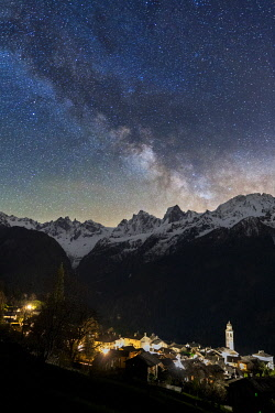 CLKMC117440 Milky way over Pizzo Badile and Cengalo. Soglio, Val Bregaglia, Canton of Graubunden, Switzerland