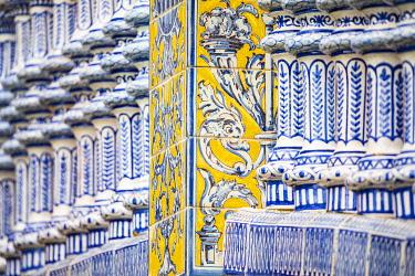 CLKST117173 Details of Plaza de Espana azulejos. Seville, Andalucia, Spain