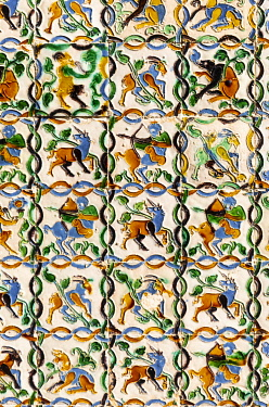CLKST117270 Real Alcazar azulejos details. Seville, Andalucia, Spain