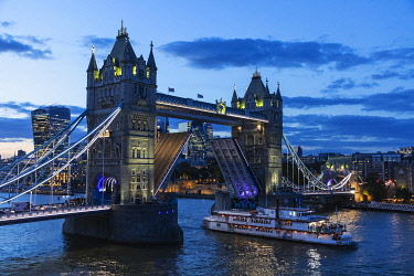 TPX71538 England, London, Tower Bridge at Night and City of London Skyline