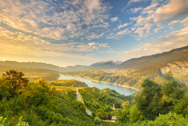 CLKAG114682 Sunrise on Santa Giustina lake, Non valley, Trento province, Trentino Alto Adige, Italy, Europe