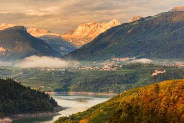 CLKAG114700 Sunrise on Santa Giustina lake and Brenta group Dolomites, Non valley, Trento province, Trentino Alto Adige, Italy, Europe