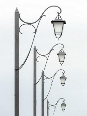 CLKEV112478 A row of Street Lamps in Burano, Venice province, Veneto region, Italy, Europe