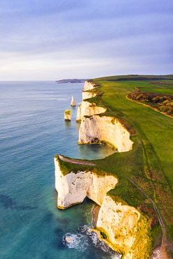 CLKAC117575 Aerial view of Old Harry Rocks, Handfast Point, Isle of Purbeck, Jurassic Coast, Dorset, England, UK