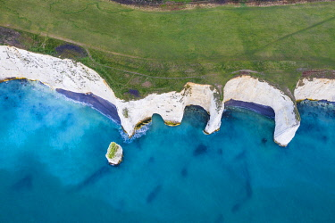 CLKAC117580 Aerial view of Old Harry Rocks, Handfast Point, Isle of Purbeck, Jurassic Coast, Dorset, England, UK