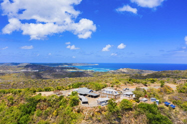CLKRM116322 Aerial view of the Shirley Heights belvedere on hilltop, Antigua, Antigua and Barbuda, Caribbean, West Indies