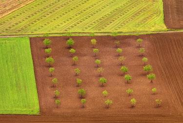 FRA11598AW France, Dordogne, Domme, overview of farmland