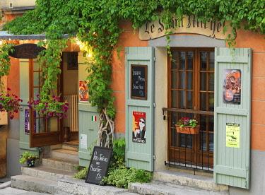 FRA11623AW France, Provence, Alpes Cote d'Azur, Castellane, facade of cafe