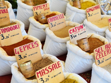 FRA11629AW France, Provence, Alpes Cote d'Azur, Castellane, Herbs and spices at market stall