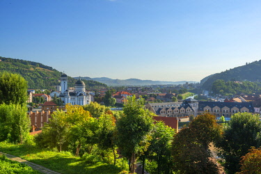 ROM1785AWRF View over Sighisoara in morming light, Transylvania, Romania