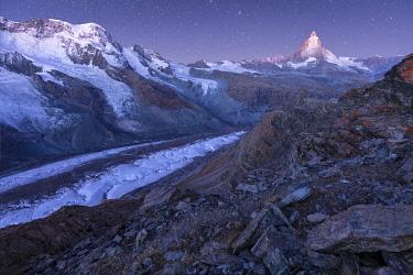 SWI8438AW Switzerland, Valais, Swiss Alps, Zermatt, Matterhorn and Gorner glacier at dawn