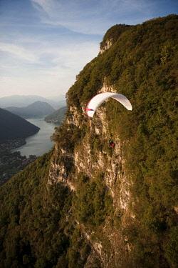 IBXFFF01898529 Aerial view, paraglider, Mendrisio, Lake Lugano, Ticino, Switzerland, Europe