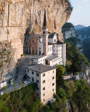 IBXLRE04927982 Mountain church Madonna della Corona, aerial view, Lake Garda, Italy, Europe